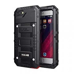iPhone 6 Case & iPhone 6s Case Heavy Duty with Screen Full Body Protective Waterproof, Impact Strong, Shockproof Dust Proof Tough Cover Metal Military Defender for Outdoor,Black