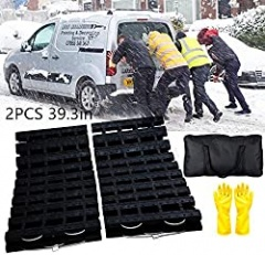 EVTIME Emergency Devices Tire Traction Mats, Portable for Snow, Ice, Mud, and Sand Used to Car, Truck, Van or Fleet Vehicle