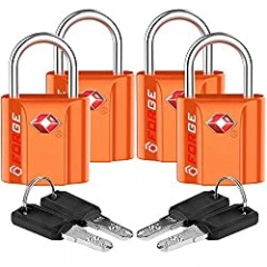 Orange 4 Pack TSA Approved Luggage Locks Ultra-Secure Dimple Key Travel Locks with Zinc Alloy Body