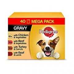 Pedigree Vital Protection Wet Dog Food Pouches in Gravy, Mix of Flavours, 40 x 100g