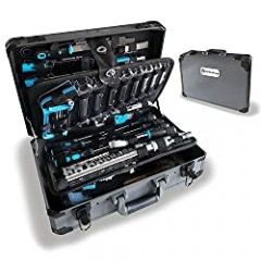 WZG Werkzeug 102 Piece Hand Tool Set Mechanics Kit with Aluminium Case Including Spanner,Kneeling Pad &Socket Set - Ideal for Workshop & Garage