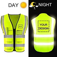 High Visibility Safety Vest Custom Your Logo Protective Workwear 5 Pockets With Reflective Strips Outdoor Work Vest(Yellow S)