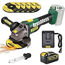 Brushless Cordless Angle Grinder 20V MAX, POPOMAN Cut-off Tool/Grinder with 4.0Ah Lithium-ion Battery, Max 10000RPM, 5pcs 5'' Max Grinding Wheel, 3-Position Auxiliary Handle, Fast charger