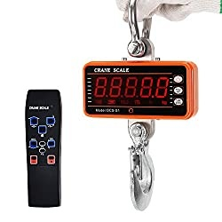 Bonvoisin Digital Crane Scale 1000kg/2000lb Industrial Heavy Duty Hanging Scale with Remote Control Portable Electronic Weighing Crane Scale 5-Digit LED Display CE Certified (1000kg, Orange)