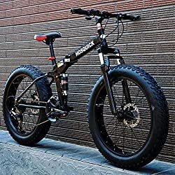 Fat Tire Mountain Bike for Adults Men Women, Foldable High Carbon Steel Frame Full Suspension MBT Bicycle, Double Disc Brake