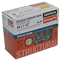 Simpson Structural Screws SD9112R100 No.9 by 1-1/2-Inch Structural-Connector Screw, 100-Pack